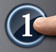 """Dito che preme un tasto con il numero """"1"""""""