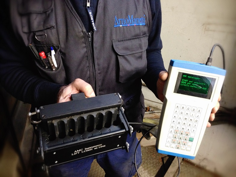 Addetto alle manutenzioni con strumento per il test magneto-induttivo