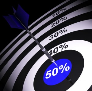 Bersaglio con freccetta piantata su 50%